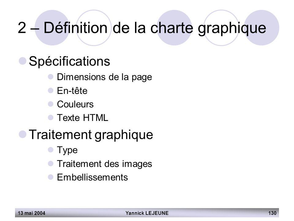 13 mai 2004Yannick LEJEUNE130 2 – Définition de la charte graphique  Spécifications  Dimensions de la page  En-tête  Couleurs  Texte HTML  Trait