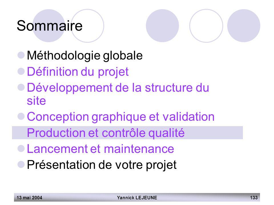 13 mai 2004Yannick LEJEUNE133 Sommaire  Méthodologie globale  Définition du projet  Développement de la structure du site  Conception graphique et