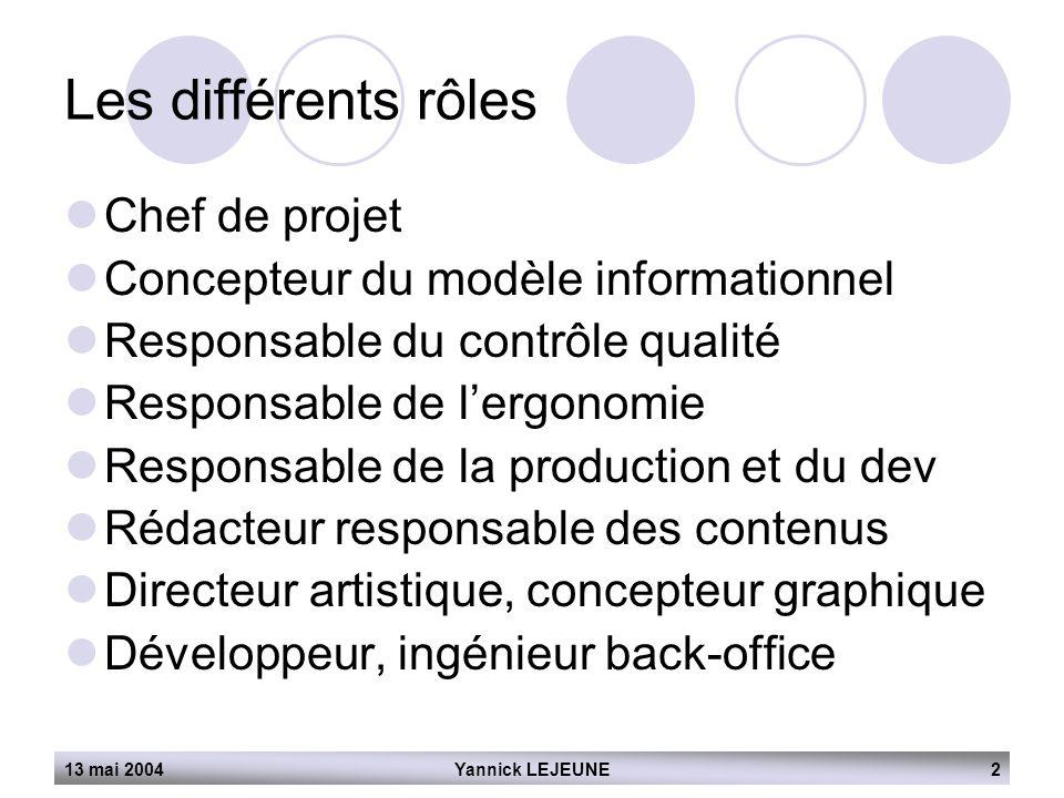 13 mai 2004Yannick LEJEUNE2 Les différents rôles  Chef de projet  Concepteur du modèle informationnel  Responsable du contrôle qualité  Responsabl