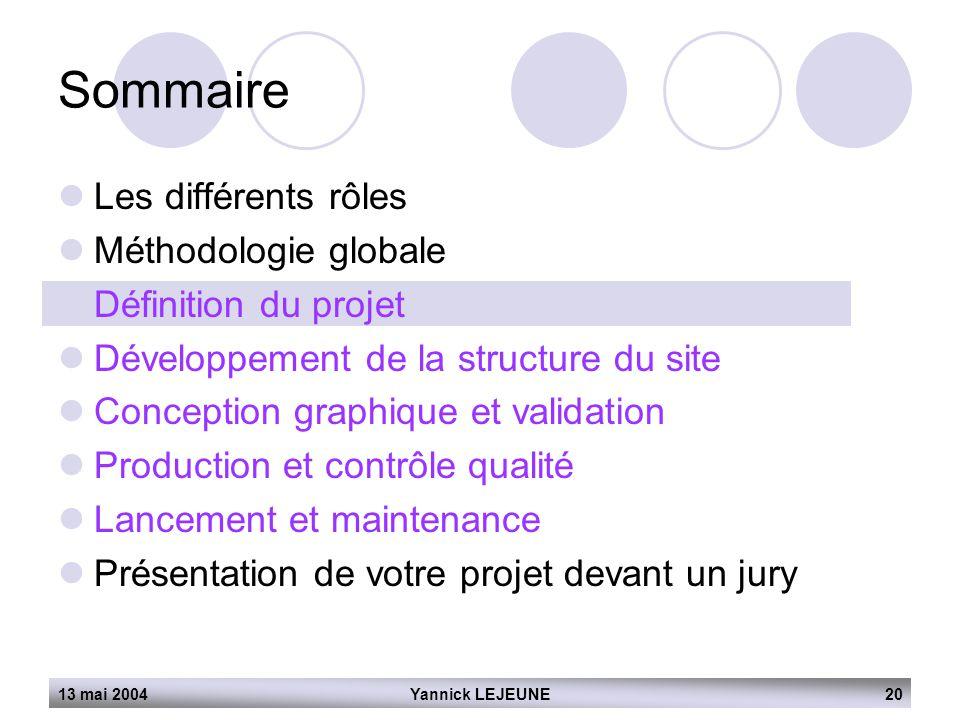 13 mai 2004Yannick LEJEUNE20 Sommaire  Les différents rôles  Méthodologie globale  Définition du projet  Développement de la structure du site  C