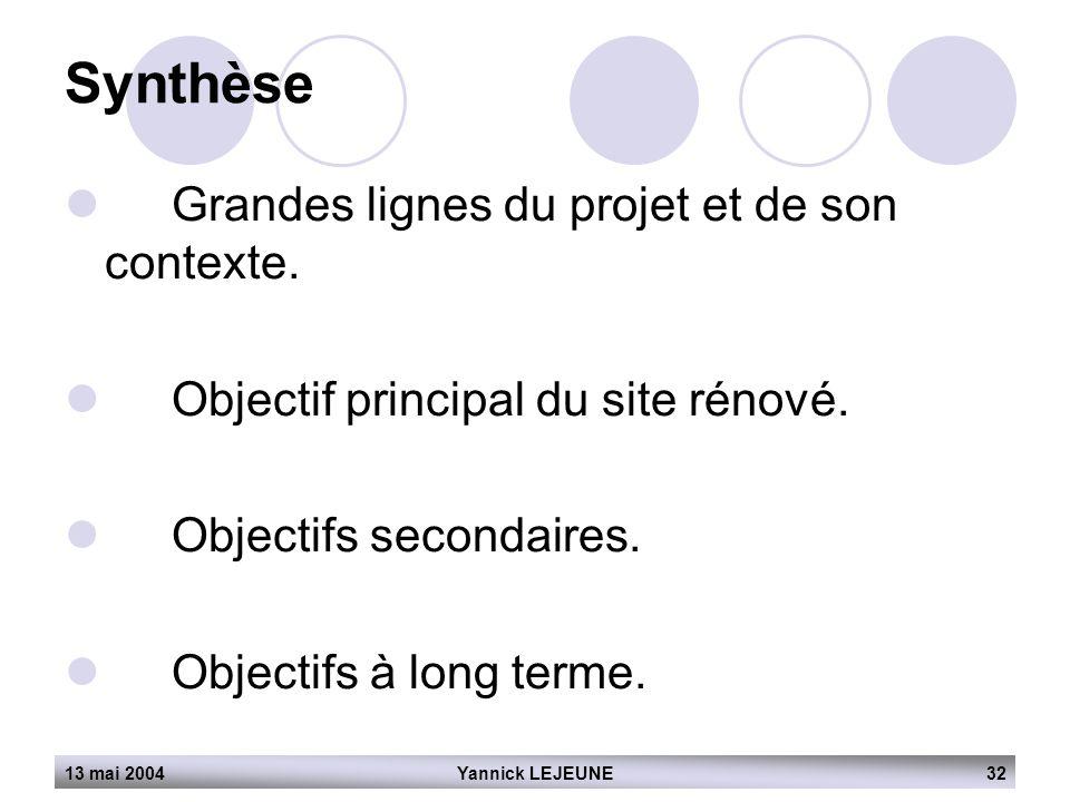 13 mai 2004Yannick LEJEUNE32  Grandes lignes du projet et de son contexte.  Objectif principal du site rénové.  Objectifs secondaires.  Objectifs
