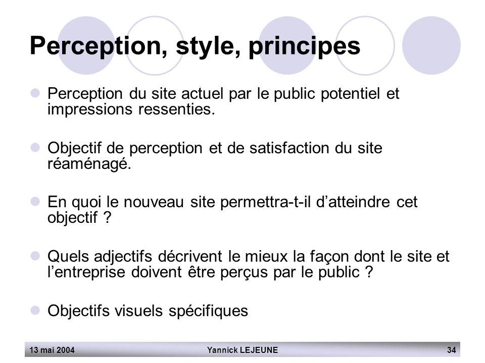 13 mai 2004Yannick LEJEUNE34 Perception, style, principes  Perception du site actuel par le public potentiel et impressions ressenties.  Objectif de