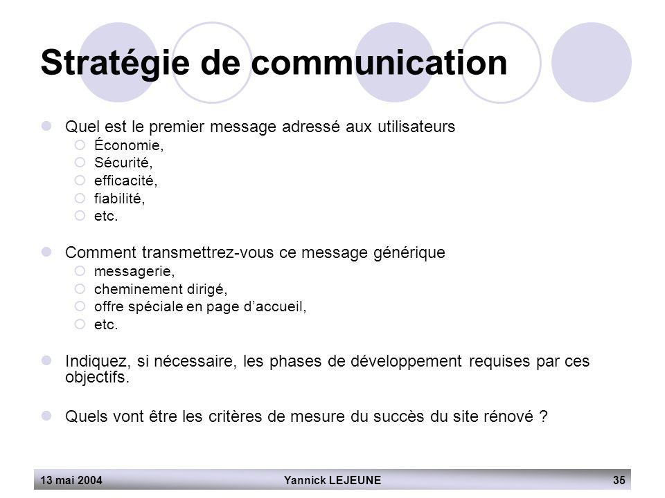 13 mai 2004Yannick LEJEUNE35 Stratégie de communication  Quel est le premier message adressé aux utilisateurs  Économie,  Sécurité,  efficacité, 
