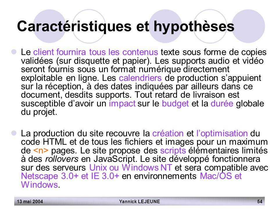 13 mai 2004Yannick LEJEUNE54 Caractéristiques et hypothèses  Le client fournira tous les contenus texte sous forme de copies validées (sur disquette