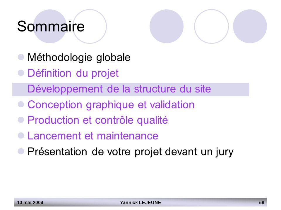 13 mai 2004Yannick LEJEUNE58 Sommaire  Méthodologie globale  Définition du projet  Développement de la structure du site  Conception graphique et