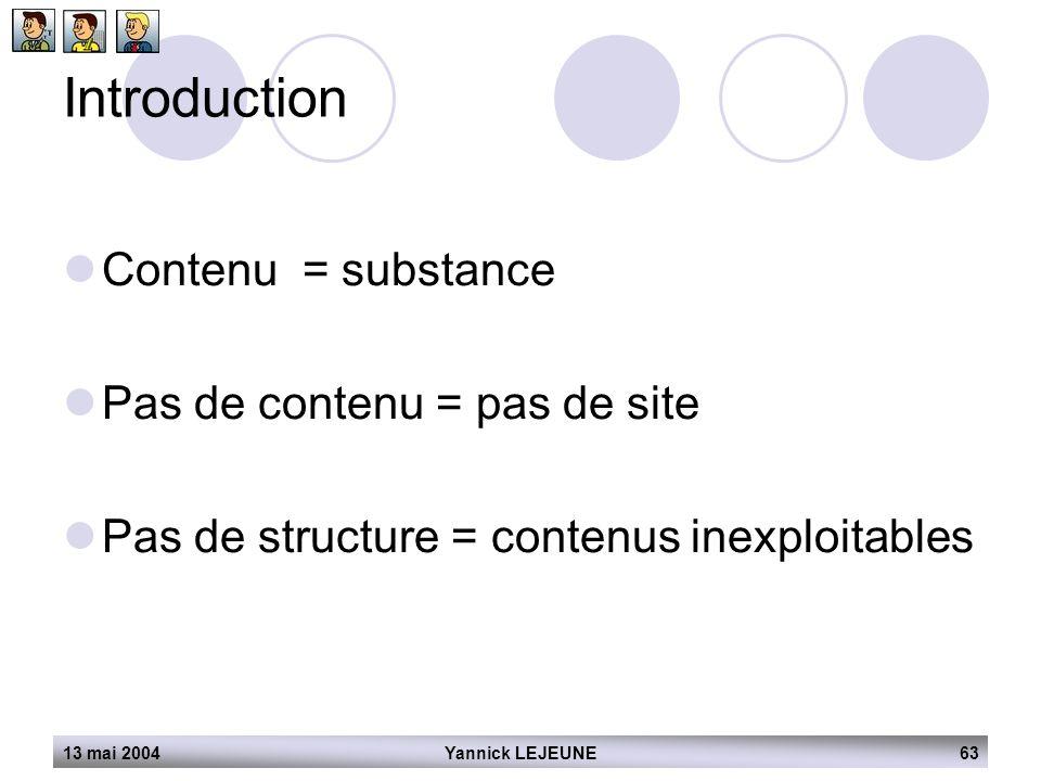 13 mai 2004Yannick LEJEUNE63 Introduction  Contenu = substance  Pas de contenu = pas de site  Pas de structure = contenus inexploitables