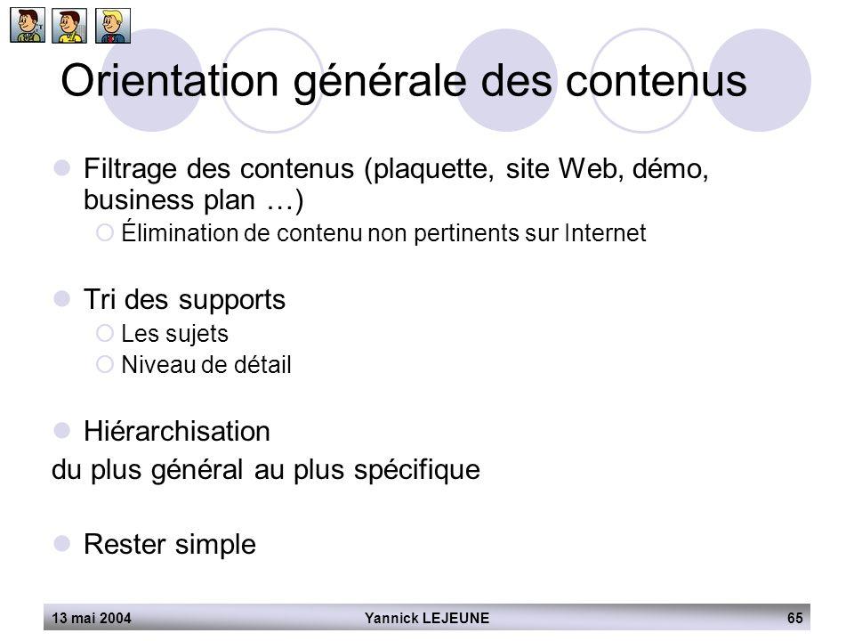13 mai 2004Yannick LEJEUNE65 Orientation générale des contenus  Filtrage des contenus (plaquette, site Web, démo, business plan …)  Élimination de c