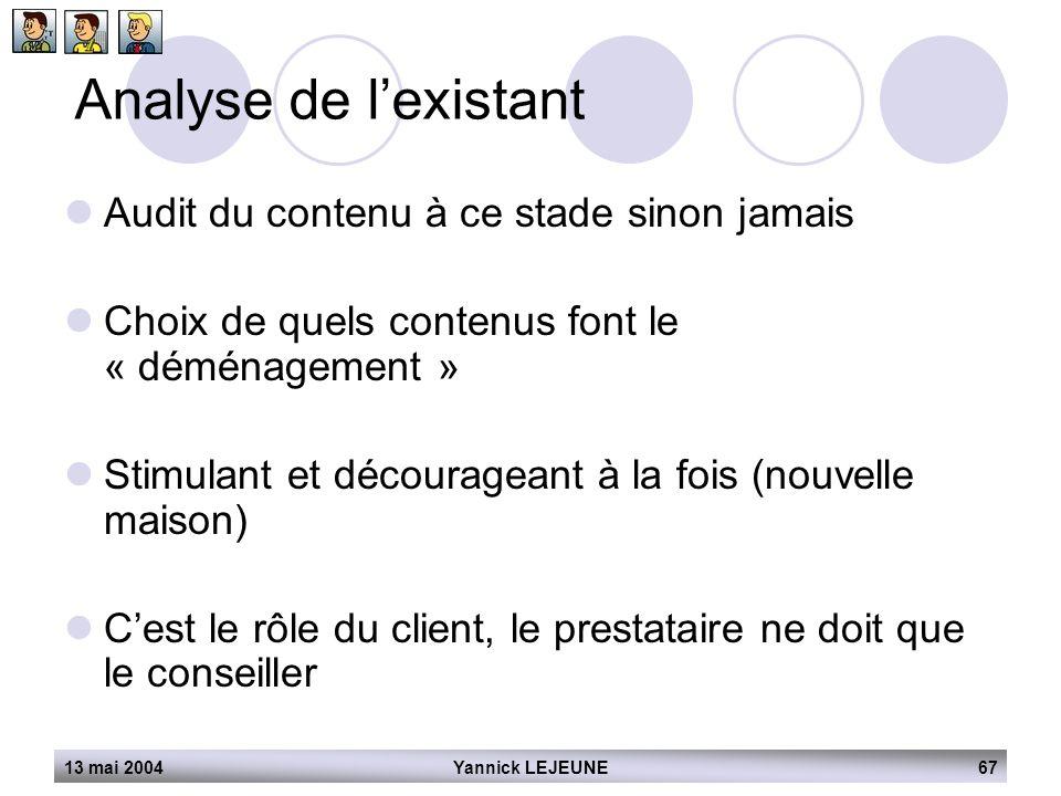 13 mai 2004Yannick LEJEUNE67 Analyse de l'existant  Audit du contenu à ce stade sinon jamais  Choix de quels contenus font le « déménagement »  Sti