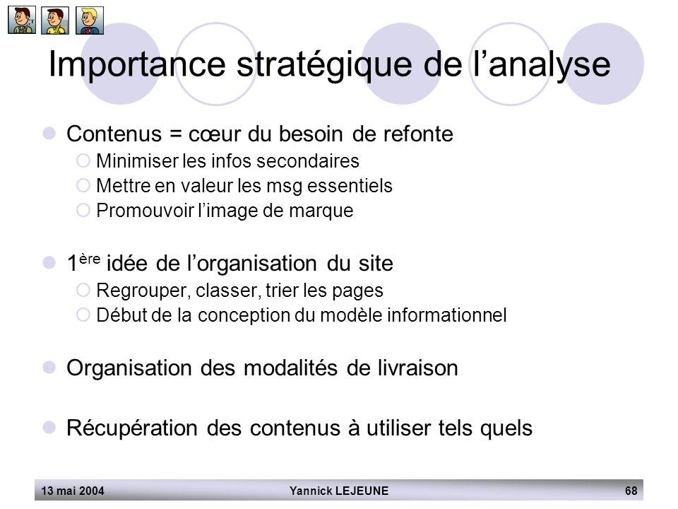 13 mai 2004Yannick LEJEUNE68 Importance stratégique de l'analyse  Contenus = cœur du besoin de refonte  Minimiser les infos secondaires  Mettre en