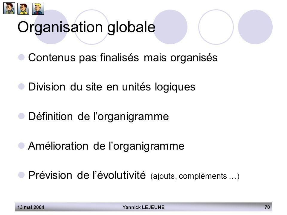 13 mai 2004Yannick LEJEUNE70 Organisation globale  Contenus pas finalisés mais organisés  Division du site en unités logiques  Définition de l'orga