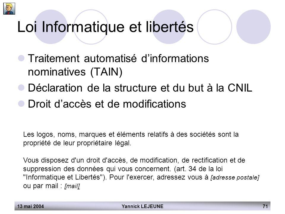 13 mai 2004Yannick LEJEUNE71 Loi Informatique et libertés  Traitement automatisé d'informations nominatives (TAIN)  Déclaration de la structure et d