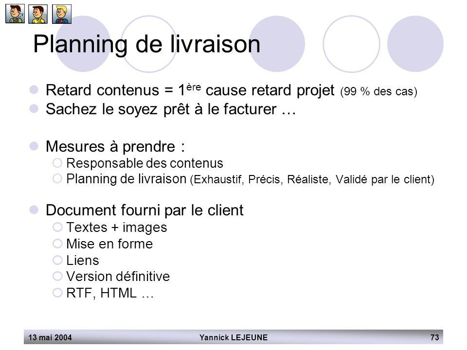13 mai 2004Yannick LEJEUNE73 Planning de livraison  Retard contenus = 1 ère cause retard projet (99 % des cas)  Sachez le soyez prêt à le facturer …