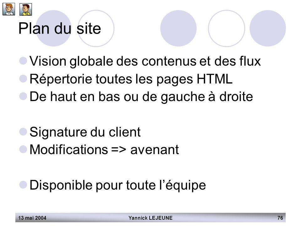 13 mai 2004Yannick LEJEUNE76 Plan du site  Vision globale des contenus et des flux  Répertorie toutes les pages HTML  De haut en bas ou de gauche à