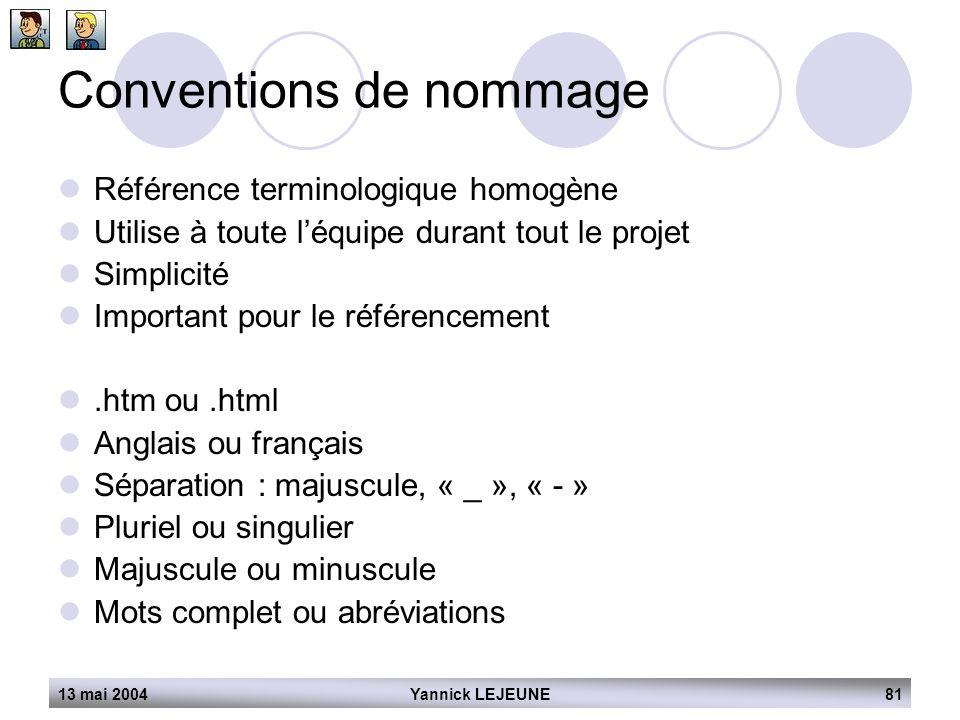 13 mai 2004Yannick LEJEUNE81 Conventions de nommage  Référence terminologique homogène  Utilise à toute l'équipe durant tout le projet  Simplicité