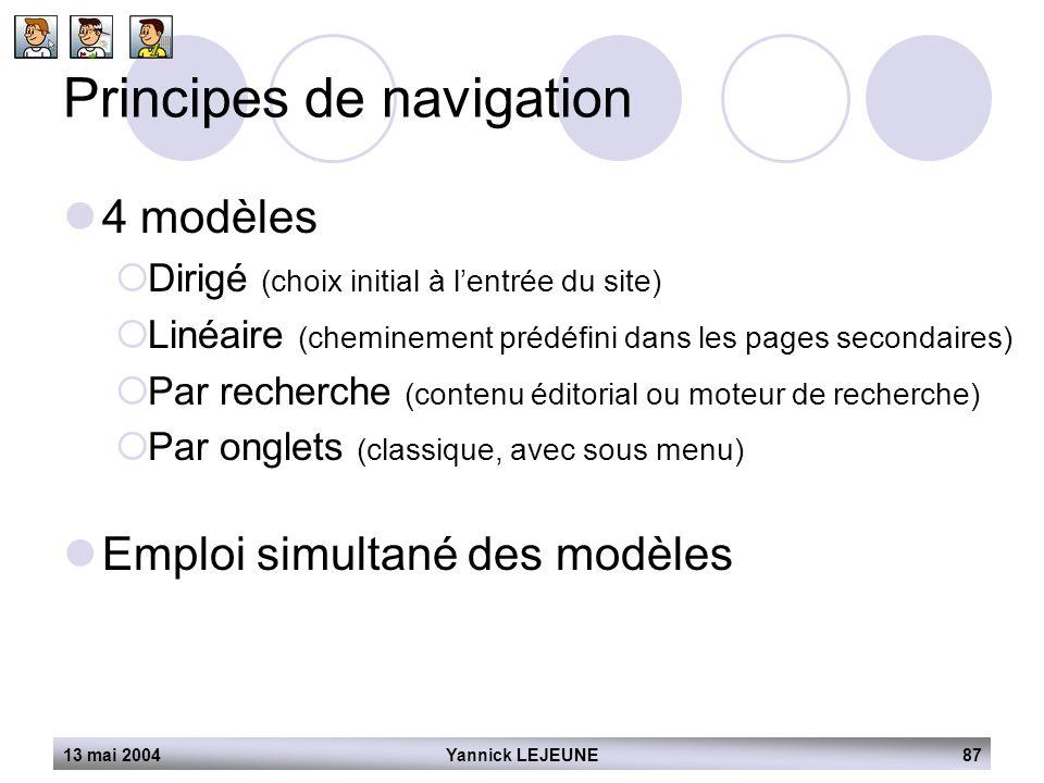 13 mai 2004Yannick LEJEUNE87 Principes de navigation  4 modèles  Dirigé (choix initial à l'entrée du site)  Linéaire (cheminement prédéfini dans le
