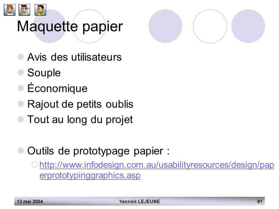 13 mai 2004Yannick LEJEUNE91 Maquette papier  Avis des utilisateurs  Souple  Économique  Rajout de petits oublis  Tout au long du projet  Outils