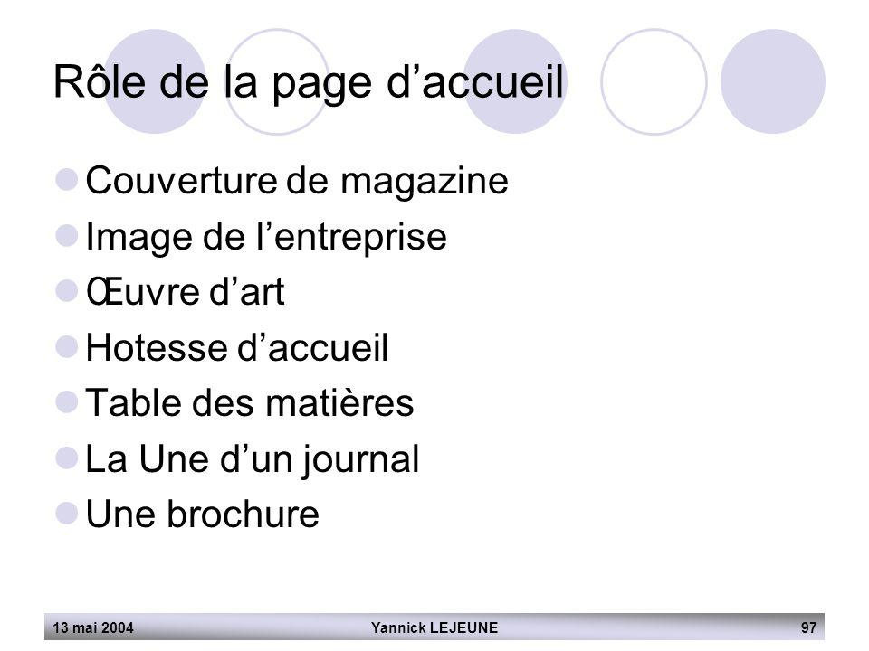 13 mai 2004Yannick LEJEUNE97 Rôle de la page d'accueil  Couverture de magazine  Image de l'entreprise  Œuvre d'art  Hotesse d'accueil  Table des