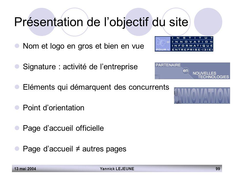 13 mai 2004Yannick LEJEUNE99 Présentation de l'objectif du site  Nom et logo en gros et bien en vue  Signature : activité de l'entreprise  Eléments