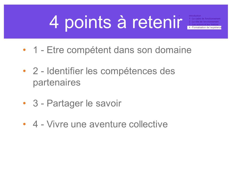 4 points à retenir •introduction •1 - Le cadre de fonctionnement •2 - Le rôle de l'environnement •3 - Les actions et leur histoire •4 - Formalisation