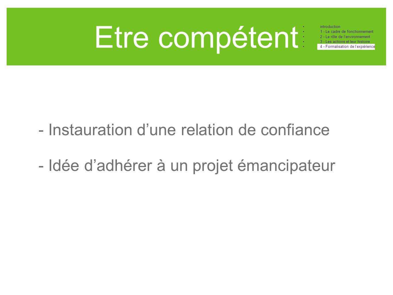 Etre compétent - Instauration d'une relation de confiance - Idée d'adhérer à un projet émancipateur •introduction •1 - Le cadre de fonctionnement •2 -