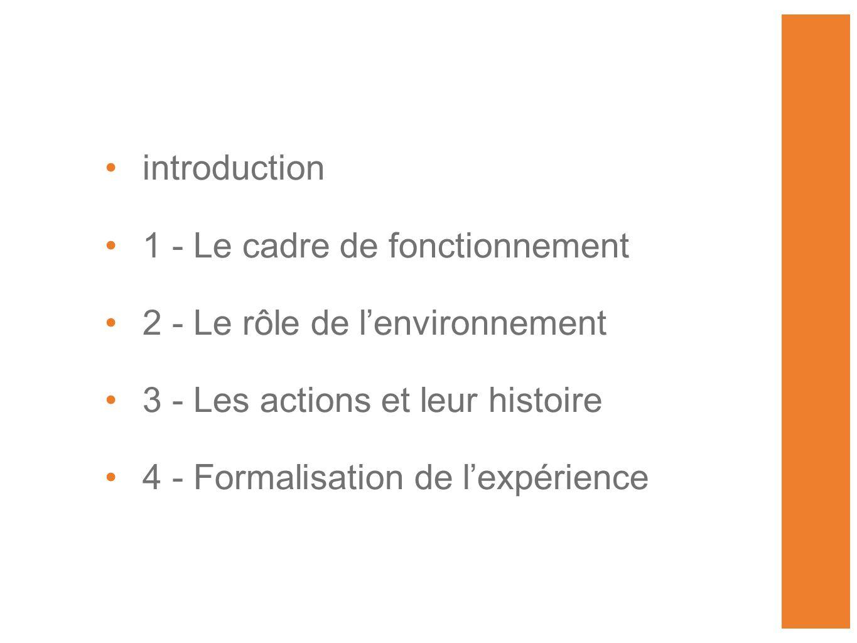 •introduction •1 - Le cadre de fonctionnement •2 - Le rôle de l'environnement •3 - Les actions et leur histoire •4 - Formalisation de l'expérience