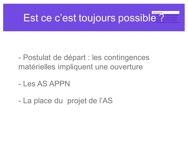 Est ce c'est toujours possible ? •introduction •1 - Le cadre de fonctionnement •2 - Le rôle de l'environnement •3 - Les actions et leur histoire •4 -