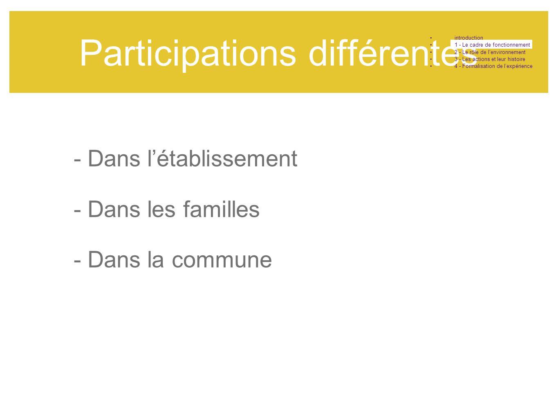 Participations différentes •introduction •1 - Le cadre de fonctionnement •2 - Le rôle de l'environnement •3 - Les actions et leur histoire •4 - Formal