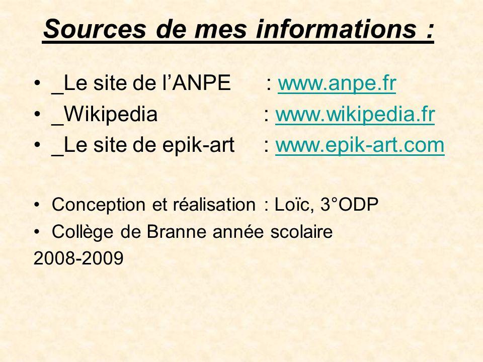 Sources de mes informations : •_Le site de l'ANPE : www.anpe.frwww.anpe.fr •_Wikipedia : www.wikipedia.frwww.wikipedia.fr •_Le site de epik-art : www.
