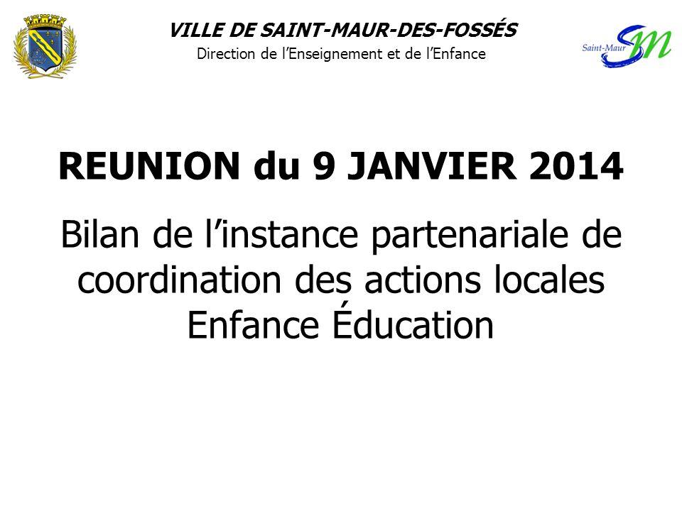 REUNION du 9 JANVIER 2014 Bilan de l'instance partenariale de coordination des actions locales Enfance Éducation VILLE DE SAINT-MAUR-DES-FOSSÉS Direct