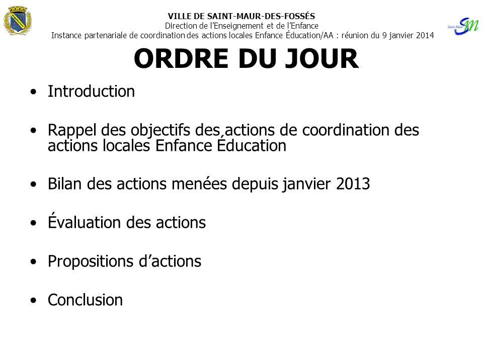 ORDRE DU JOUR •Introduction •Rappel des objectifs des actions de coordination des actions locales Enfance Éducation •Bilan des actions menées depuis j