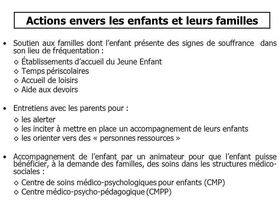 •Soutien aux familles dont l'enfant présente des signes de souffrance dans son lieu de fréquentation : ◊ Établissements d'accueil du Jeune Enfant ◊ Te