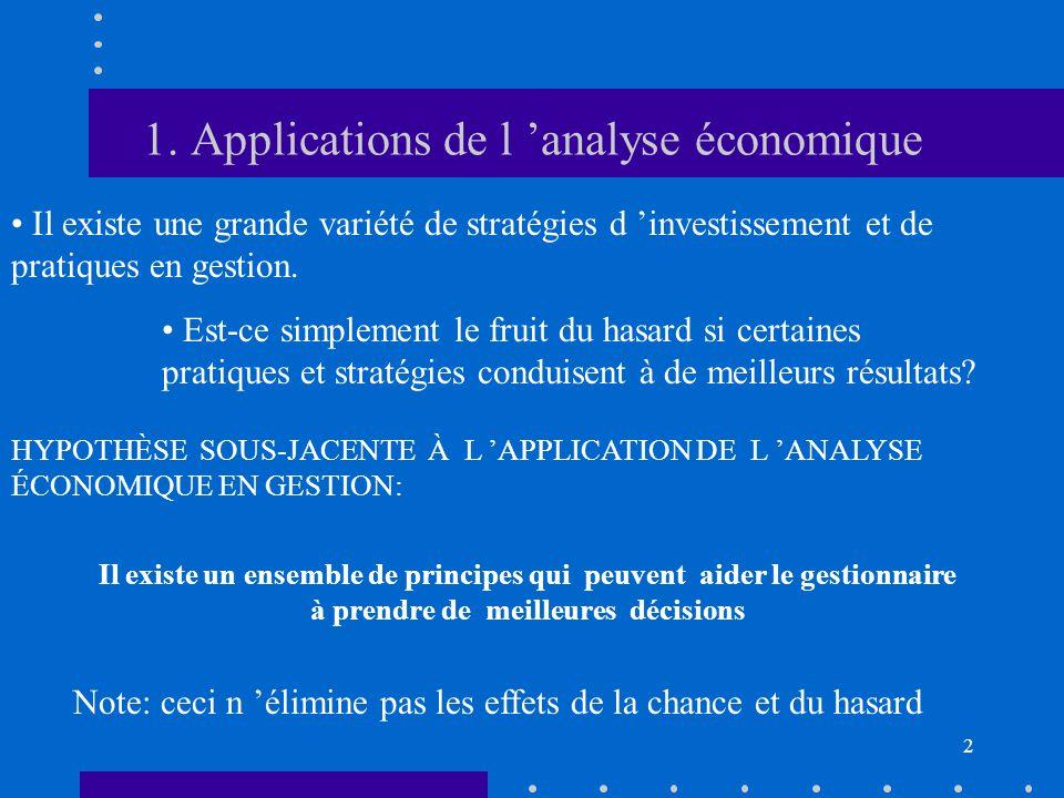 2 1. Applications de l 'analyse économique • Il existe une grande variété de stratégies d 'investissement et de pratiques en gestion. • Est-ce simplem