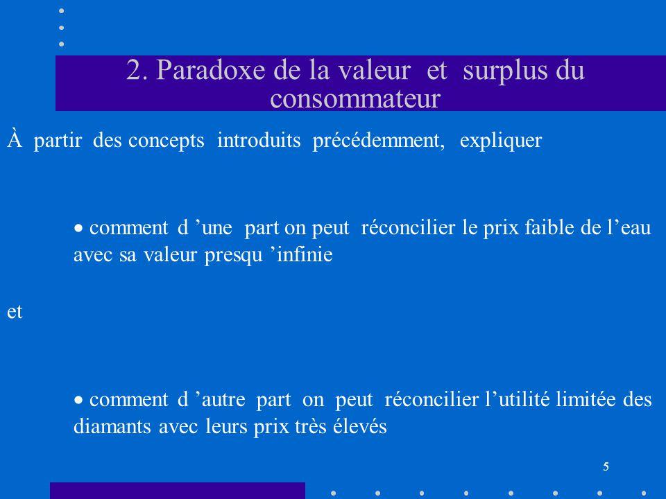 5 2. Paradoxe de la valeur et surplus du consommateur  comment d 'une part on peut réconcilier le prix faible de l'eau avec sa valeur presqu 'infinie