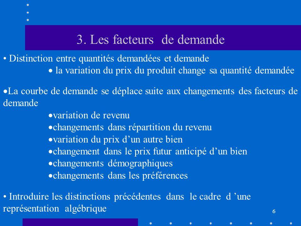 6 3. Les facteurs de demande • Distinction entre quantités demandées et demande  la variation du prix du produit change sa quantité demandée  La cou