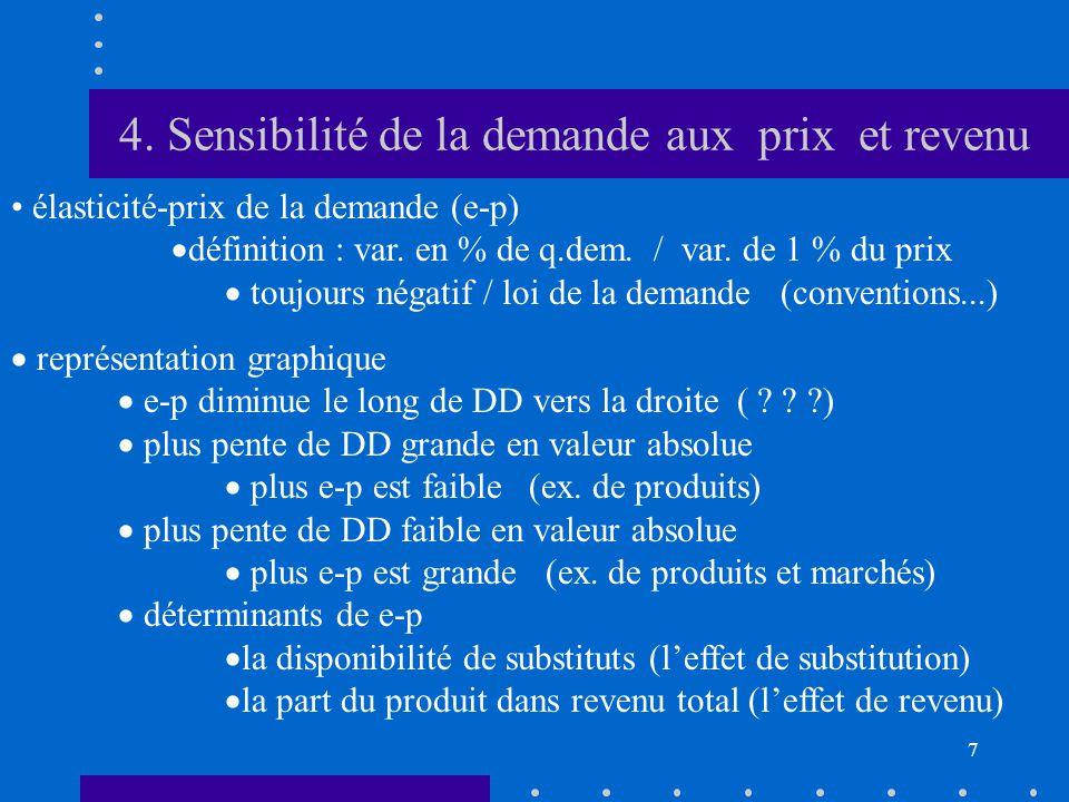 7 4. Sensibilité de la demande aux prix et revenu • élasticité-prix de la demande (e-p)  définition : var. en % de q.dem. / var. de 1 % du prix  tou
