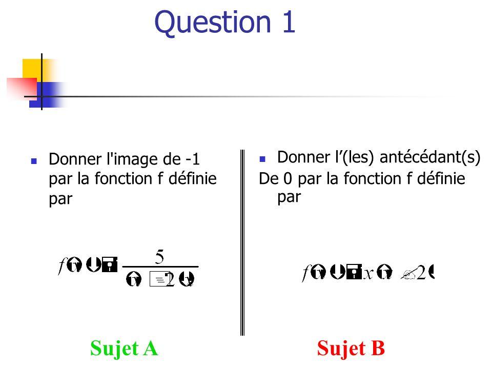 Question 1  Donner l'image de -1 par la fonction f définie par Sujet ASujet B  Donner l'(les) antécédant(s) De 0 par la fonction f définie par