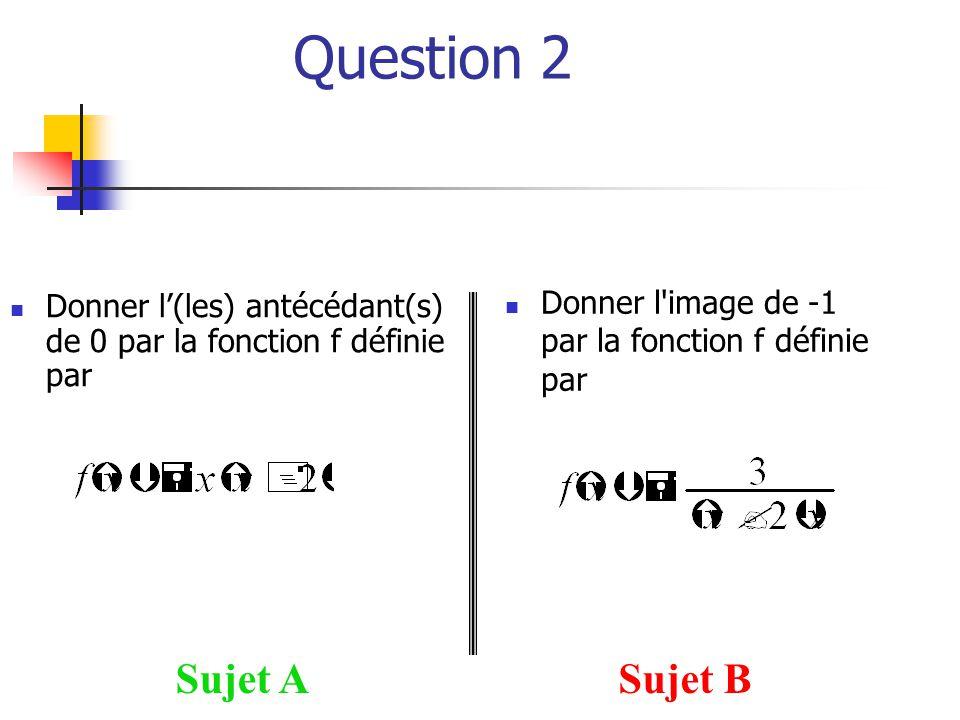 Question 2  Donner l'image de -1 par la fonction f définie par Sujet ASujet B  Donner l'(les) antécédant(s) de 0 par la fonction f définie par