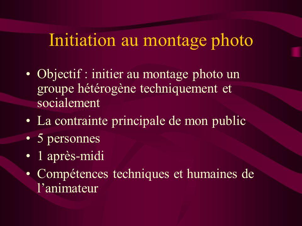 Initiation au montage photo •Objectif : initier au montage photo un groupe hétérogène techniquement et socialement •La contrainte principale de mon pu