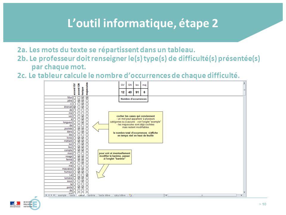 > 10 L'outil informatique, étape 2 2a. Les mots du texte se répartissent dans un tableau. 2b. Le professeur doit renseigner le(s) type(s) de difficult