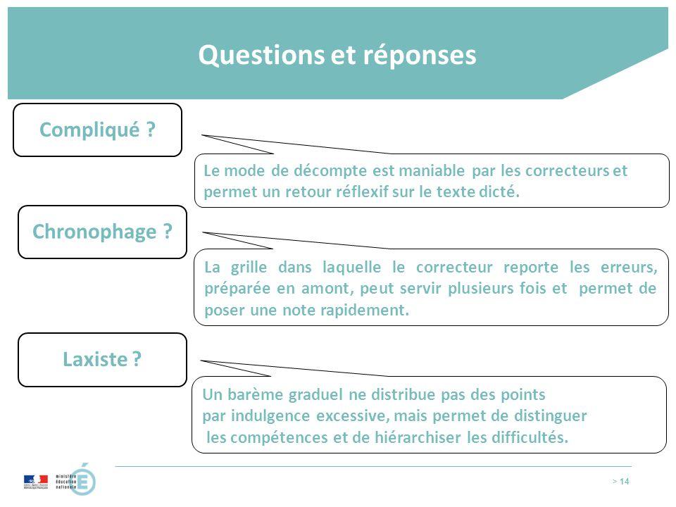 > 14 Questions et réponses Compliqué ? Le mode de décompte est maniable par les correcteurs et permet un retour réflexif sur le texte dicté. Chronopha
