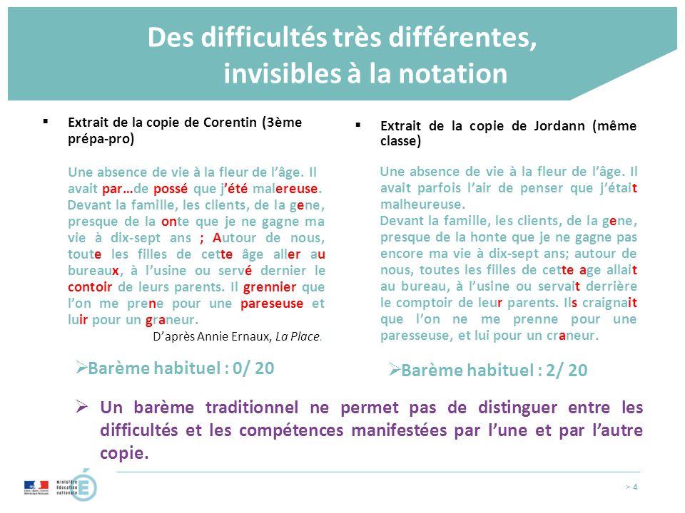 > 4 Des difficultés très différentes, invisibles à la notation  Extrait de la copie de Corentin (3ème prépa-pro) Une absence de vie à la fleur de l'â