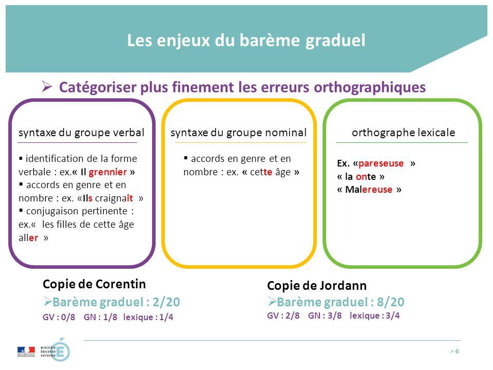 > 6 Les enjeux du barème graduel > 6  identification de la forme verbale : ex.« Il grennier »  accords en genre et en nombre : ex. «Ils craignait »