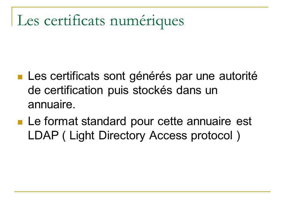 Les certificats numériques  Les certificats sont générés par une autorité de certification puis stockés dans un annuaire.  Le format standard pour c