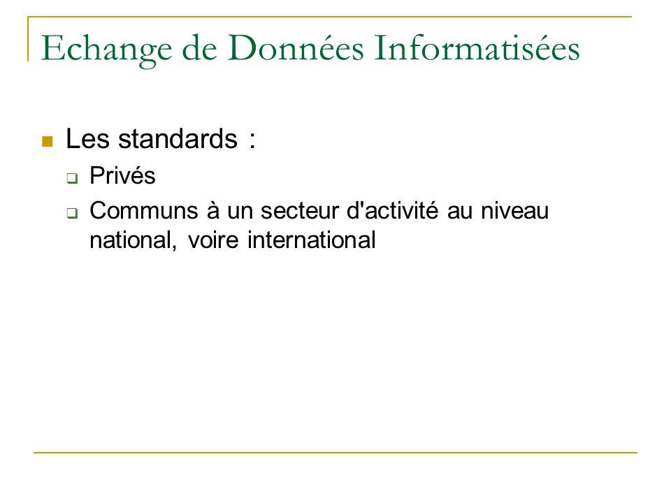 Echange de Données Informatisées  Les standards :  Privés  Communs à un secteur d'activité au niveau national, voire international