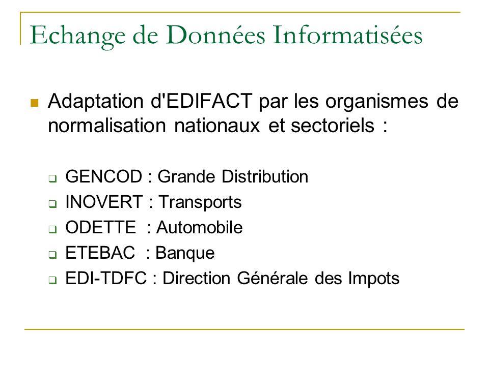 Echange de Données Informatisées  Adaptation d'EDIFACT par les organismes de normalisation nationaux et sectoriels :  GENCOD : Grande Distribution 