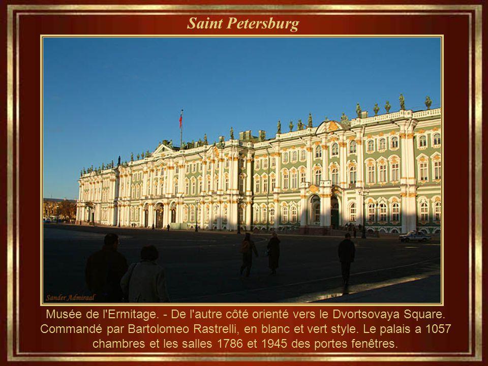 Saint Petersburg Musée de l'Ermitage - Comme il apparaît à côté de la rivière. Créé en 1764 et inauguré en 1852, le musée occupe cinq palais contigus.