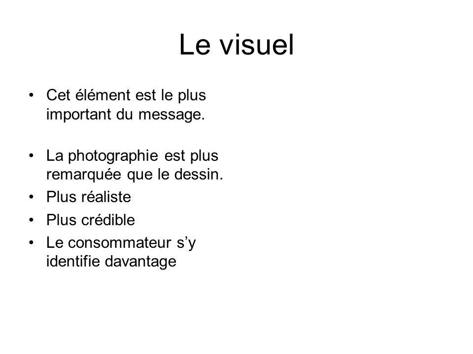 Le visuel •Cet élément est le plus important du message.