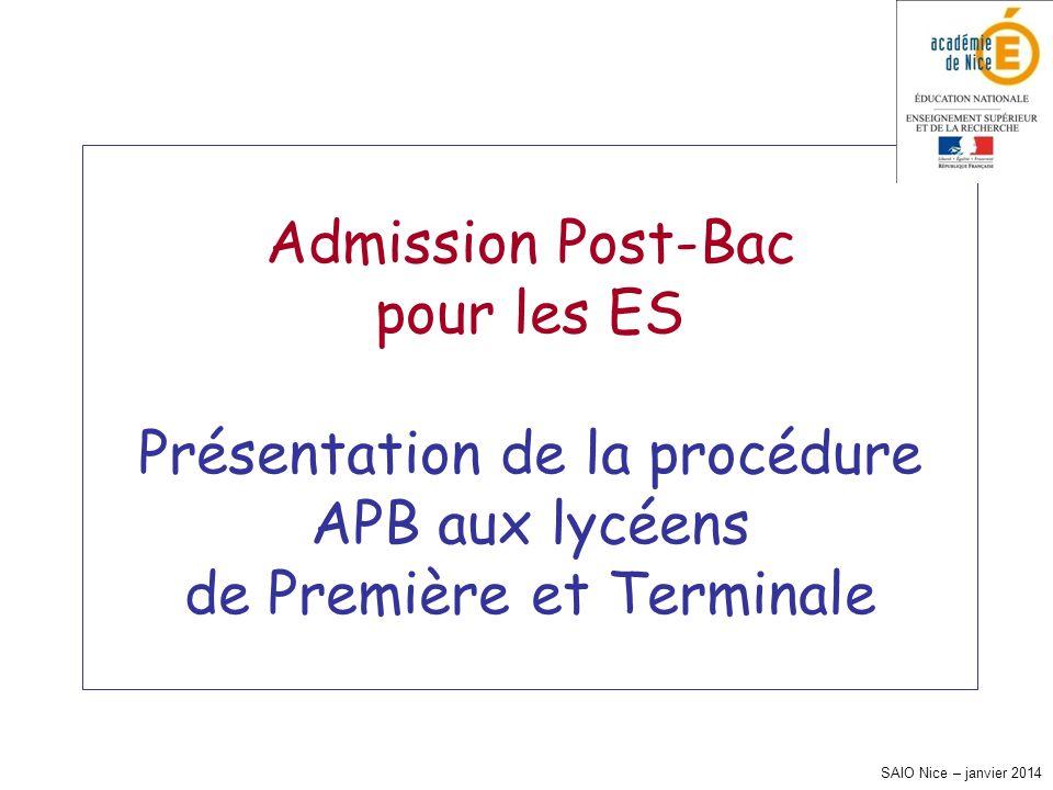 SAIO Nice – janvier 2014 Admission Post-Bac pour les ES Présentation de la procédure APB aux lycéens de Première et Terminale