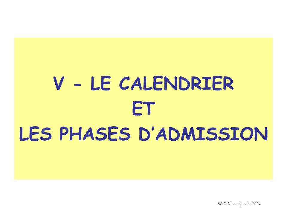 SAIO Nice - janvier 2014 V - LE CALENDRIER ET LES PHASES D'ADMISSION