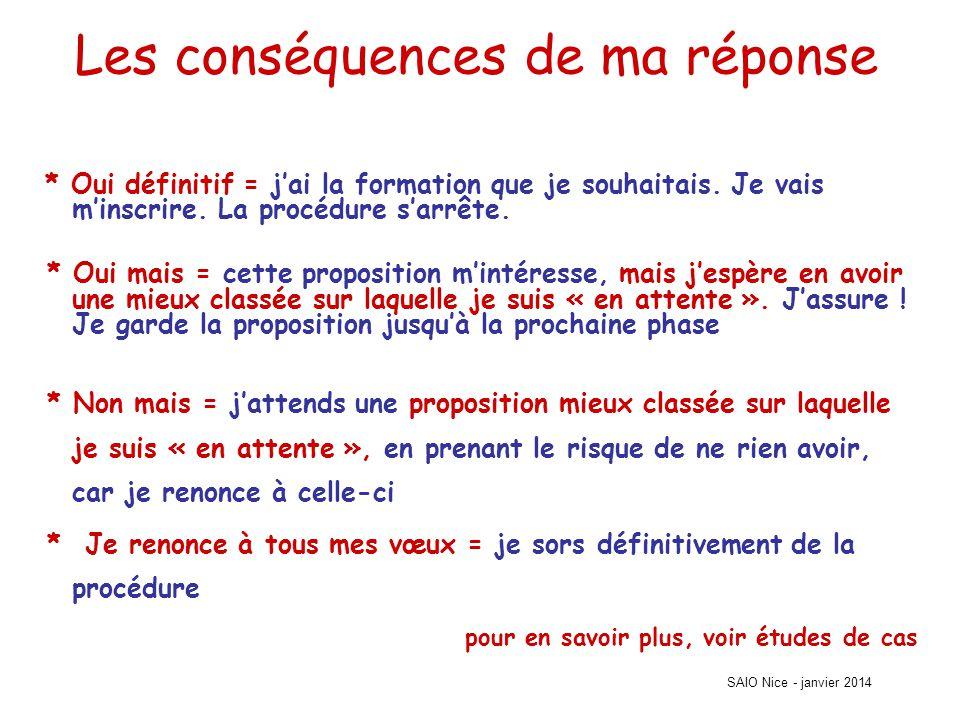 SAIO Nice - janvier 2014 Les conséquences de ma réponse * Oui définitif = j'ai la formation que je souhaitais.